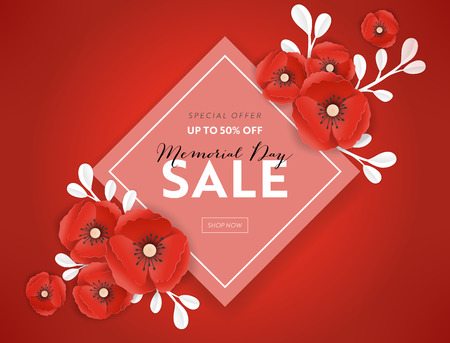Memorial Day Sale Banner with Red Paper Cut Poppy Flowers. Remembrance Day Discount Poster with Symbol of Piece Poppies for Promo Flyer, Brochure, Leaflet. Vector illustration Çizim