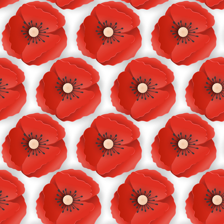 Memorial Day Seamless Pattern with Paper Cut Out Red Poppy Flowers. Poppies Background Symbol of Piece Remembrance Anzac Day. Vector illustration Vetores