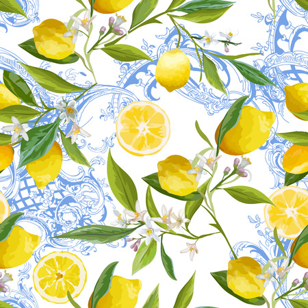 Seamless Pattern with vintage barocco design with yellow Lemon Fruits, Floral Background with Flowers, Leaves, Lemons for Wallpaper, Fabric, Print. Vector illustration Illustration