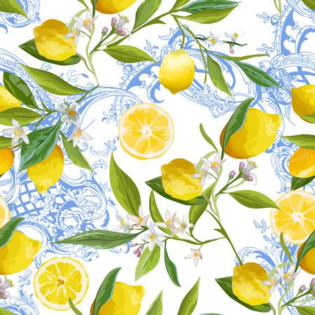 Patrón sin fisuras con diseño barroco vintage con frutas de limón amarillo, fondo floral con flores, hojas, limones para papel tapiz, tela, impresión. Ilustración vectorial