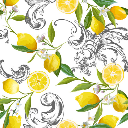 Seamless Pattern with vintage barocco design with yellow Lemon Fruits, Floral Background with Flowers, Leaves, Lemons for Wallpaper, Fabric, Print. Vector illustration Иллюстрация