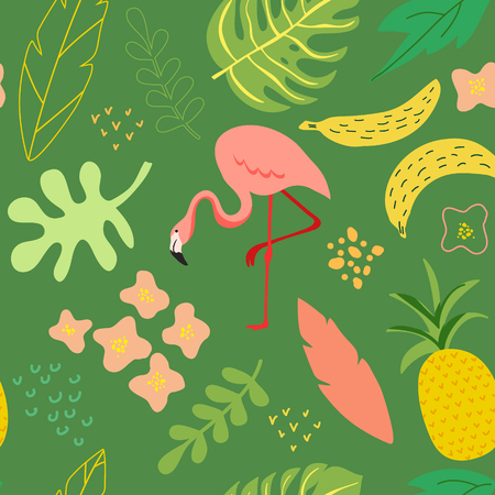Vector illustration in trendy flat simple style, spring and summer seamless background with flamingo, plants, leaves, flowers for banner, greeting card, poster, cover, pattern Illustration