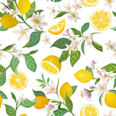 Nahtloses Zitronenmuster mit tropischen Früchten, Blättern, Blumenhintergrund. Handgezeichnete Vektorillustration im Aquarellstil für romantische Sommerabdeckung, tropische Tapete, Vintage-Textur Vektorgrafik