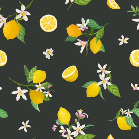 Seamless Lemon pattern with tropic fruits, leaves, flowers background. Hand drawn vector illustration in watercolor style for summer romantic cover, tropical wallpaper, vintage texture