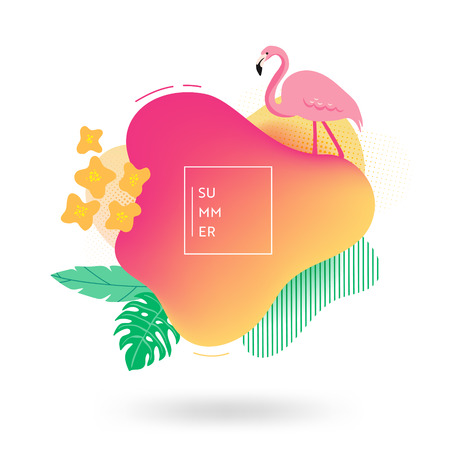 Summer banner template. Tropical liquid geometric shape background with flowers, flamingo birds, tropic fluid bubble, card, brochure, promo badge for your seasonal design. Vector illustration