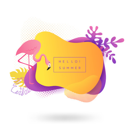 Summer banner template. Tropical liquid geometric shape background with flowers, flamingo birds, palms, tropic fluid bubble, card, brochure, promo badge for your seasonal design. Vector illustration  イラスト・ベクター素材