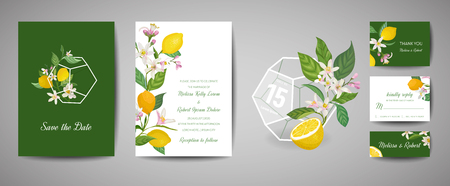 Set of Botanical wedding invitation card, vintage Save the Date, template design of lemons fruit flowers and leaves, blossom illustration. Vector trendy cover, graphic poster, brochure 向量圖像