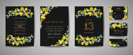 Set of Botanical wedding invitation card, vintage Save the Date, template design of lemons fruit flowers and leaves, blossom illustration. Vector trendy cover, graphic poster, brochure  イラスト・ベクター素材