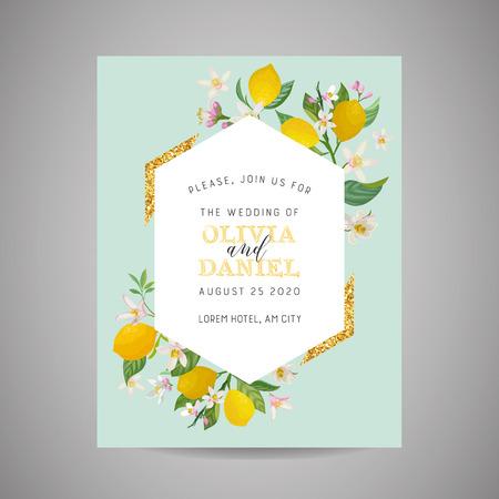 Botanical wedding invitation card Иллюстрация