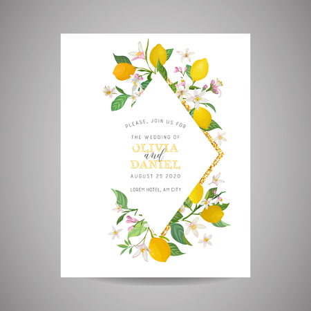 Botanical wedding invitation card, vintage Save the Date, template design of lemons fruit flowers and leaves, blossom illustration. Vector trendy cover, graphic poster, brochure