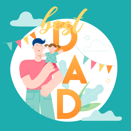 Happy Father Day concept card with Smiling Dad Character holding Child.  イラスト・ベクター素材