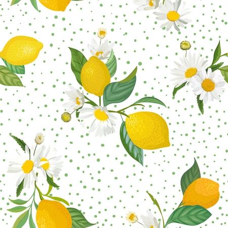 Seamless Lemon pattern with tropic fruits, leaves, daisy flowers background. Hand drawn vector illustration in watercolor style for summer romantic cover, tropical wallpaper, vintage texture  イラスト・ベクター素材