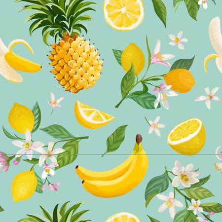 Modello senza cuciture di frutta tropicale con sfondo di limone, banana, ananas, frutta, foglie, fiori. Illustrazione vettoriale disegnata a mano in stile acquerello per copertina romantica estiva, carta da parati tropicale, texture vintage