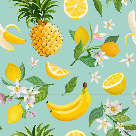 Seamless Tropical Fruit pattern with lemon, banana, pineapple, fruits, leaves, flowers background. Hand drawn vector illustration in watercolor style for summer romantic cover, tropical wallpaper, vintage texture