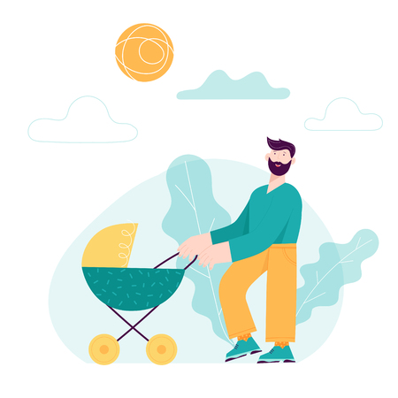 Happy Father Day concept card with Smiling Dad Character and Child in Baby stroller.