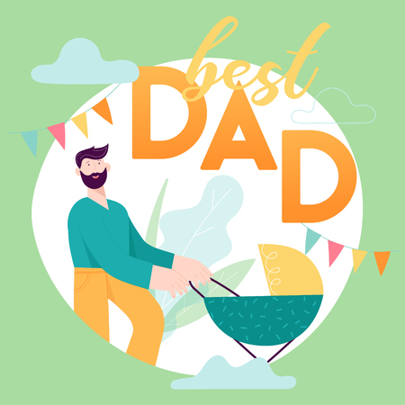 Happy Father Day concept card with Smiling Dad Character with Baby in stroller.