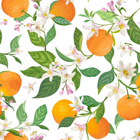 Seamless Orange pattern with tropic fruits, leaves, flowers background. Hand drawn vector illustration in watercolor style for summer cover, citrus tropical wallpaper, vintage texture