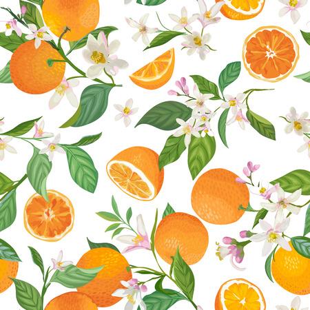 Nahtloses orangefarbenes Muster mit tropischen Früchten, Blättern, Blumen Vektorgrafik