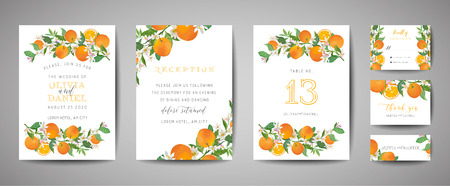 Set of Botanical wedding invitation card, vintage Save the Date, template design of orange, citrus fruit, flowers and leaves, blossom illustration. Vector trendy cover, graphic poster, brochure