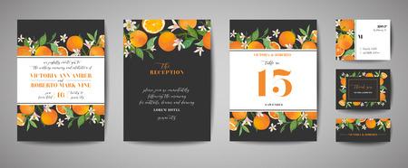Set of Botanical wedding invitation card