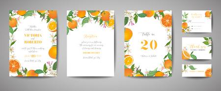 Set of Botanical wedding invitation card, vintage Save the Date, template design of orange, citrus fruit, flowers and leaves, blossom illustration. Vector trendy cover, graphic poster, brochure
