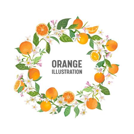 Botanical wedding invitation card, vintage Save the Date, template frame design of orange, citrus fruit, flowers and leaves, blossom illustration. Vector trendy cover, graphic poster, brochure