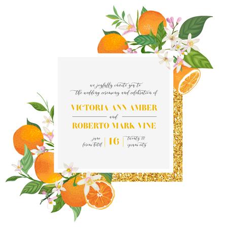 Satz botanische Hochzeitseinladungskarte, Vintage Save the Date, Vorlagendesign von Orange, Zitrusfrüchten, Blumen und Blättern, Blütenillustration. Trendiges Vektorcover, grafisches Poster, Broschüre,