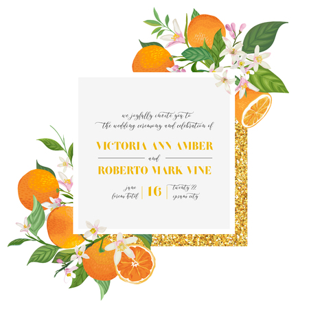 Set of Botanical wedding invitation card, vintage Save the Date, template design of orange, citrus fruit, flowers and leaves, blossom illustration. Vector trendy cover, graphic poster, brochure Stockfoto - 129344930
