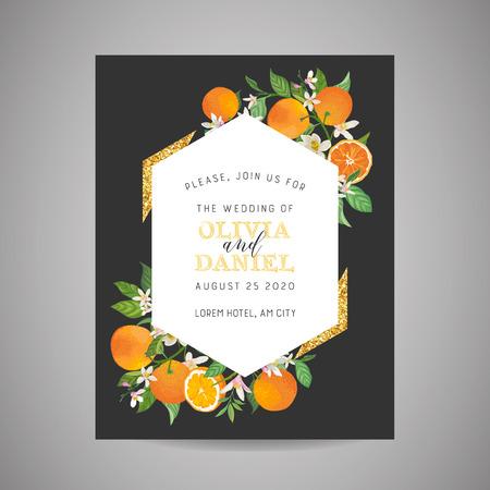 Tarjeta de invitación de boda botánica, vintage Save the Date, diseño de plantilla de naranja, cítricos, flores y hojas, ilustración de flor. Vector portada de moda, cartel gráfico, folleto