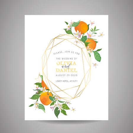 Botanical wedding invitation card, vintage Save the Date, template design of orange, citrus fruit, flowers and leaves, blossom illustration. Vector trendy cover, graphic poster, brochure