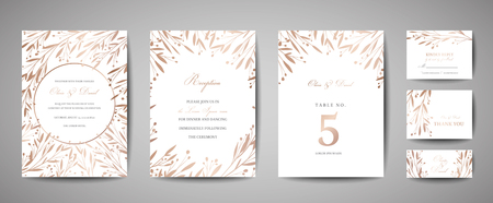 Luxury Flower Vintage Wedding Save the Date, Invitation Floral Cards Collection with Gold Foil Frame. Vector trendy cover, graphic poster, retro brochure, design template  イラスト・ベクター素材