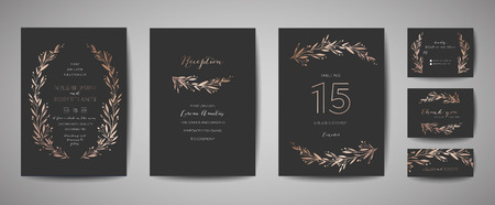 Luxury Flower Vintage Wedding Save the Date, Invitation Floral Cards Collection with Gold Foil Frame.