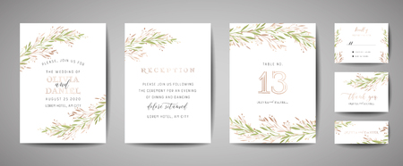 Luxury Flower Vintage Wedding Save the Date, Invitation Floral Cards Collection with Gold Foil Frame. Vector trendy cover, graphic poster, retro brochure, design template 일러스트