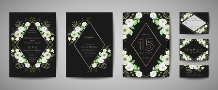 Set of Wedding Invitation, floral invite, thank you, rsvp rustic card design with gold foil decoration. Vector elegant modern template, trendy cover, graphic poster, retro brochure, design template 일러스트