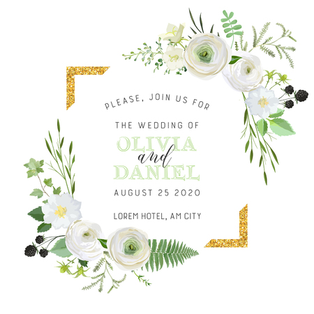 Botanical Wedding Invitation, vintage Save the Date, floral invite, thank you, rsvp rustic card design with gold foil decoration. Vector elegant modern template, trendy cover, graphic poster, design Illustration