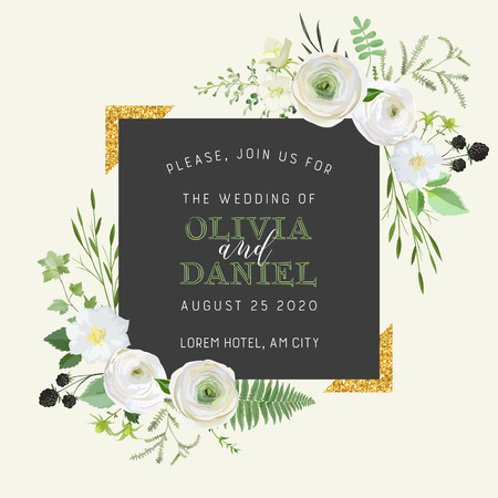 Botanical Wedding Invitation, vintage Save the Date, floral invite, thank you, rsvp rustic card design with gold foil decoration. Vector elegant modern template, trendy cover, graphic poster, design  イラスト・ベクター素材