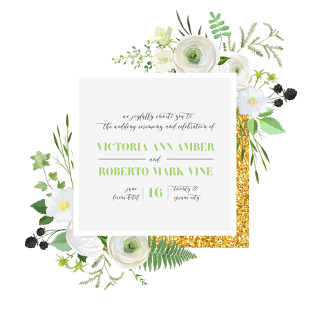 Botanical Wedding Invitation, vintage Save the Date, floral invite, thank you, rsvp rustic card design with gold foil decoration. Vector elegant modern template, trendy cover, retro brochure, design