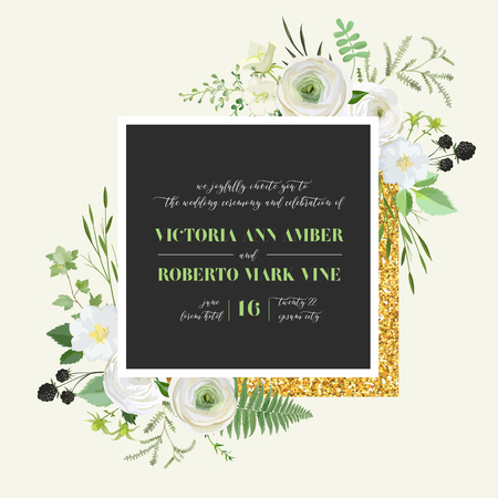 Botanical Wedding Invitation, vintage Save the Date, floral invite, thank you, rsvp rustic card design with gold foil decoration. Vector template, trendy cover, graphic poster, retro brochure, design