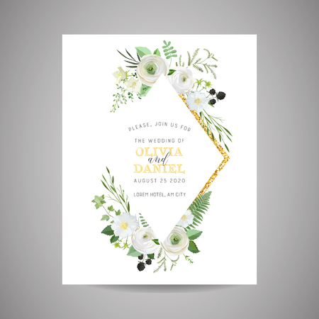 Botanical Wedding Invitation, vintage Save the Date, floral invite, thank you, RSVP rustic card design with gold foil decoration.