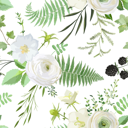 Vector seamless watercolor pattern with bouquets of white flowers, berries, green leaves. Summer and spring rustic plant collection background of botanical elements for wedding, cards, banners, prints Illustration