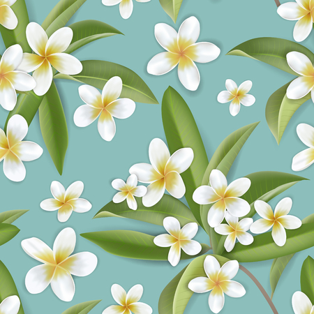 Beautiful retro plumeria flowers seamless background, tropical jungle floral pattern in vector illustration design for fashion fabric, prints, textile, wallpaper