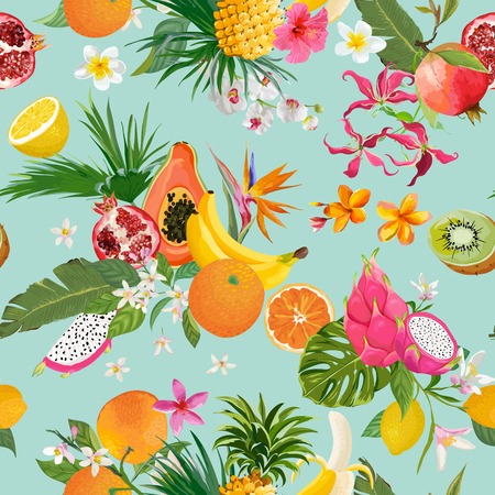 Seamless pattern with tropical fruits and flowers.