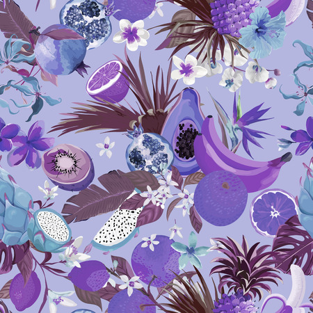 Seamless monochrome pattern with tropical fruits and flowers.  イラスト・ベクター素材