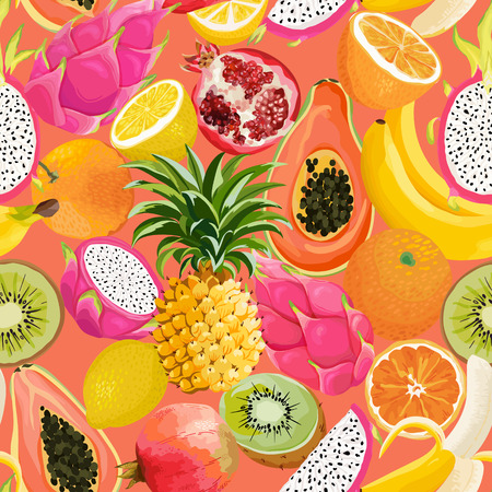 Seamless pattern with tropical fruits.  イラスト・ベクター素材