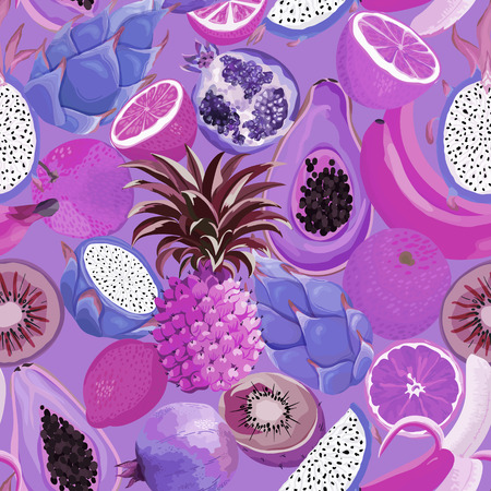 Seamless pattern with tropical fruits. Illustration