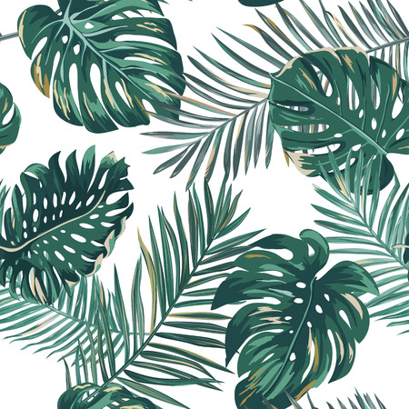 Retro palm leaves background pattern, tropical jungle illustration texture in vector for wallpaper, print, brochure, design