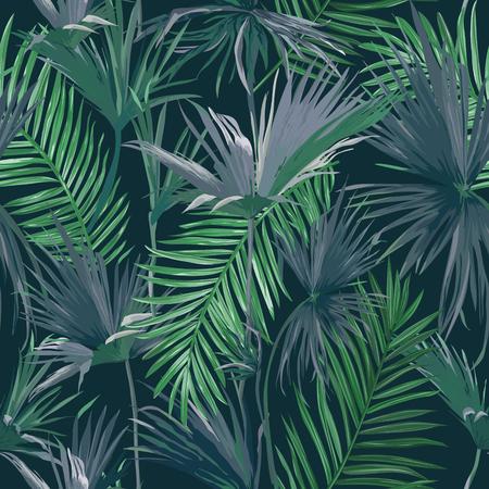 Fondo transparente de hojas de palmera de la selva tropical, ilustración de patrón floral vectorial para papel tapiz, diseño de impresión, plantilla textil