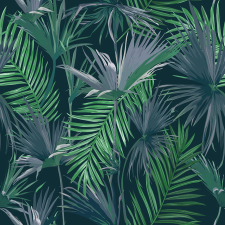 Tropical Jungle Palm Leaves Seamless Background, Vector Floral Pattern Illustration for Wallpaper, Print Design, Textile Template