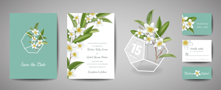 Botanical wedding invitation card Template Design, Tropical Plumeria Flowers and Leaves in modern style, Collection of Save the date, RSVP, greeting in vector Illustration