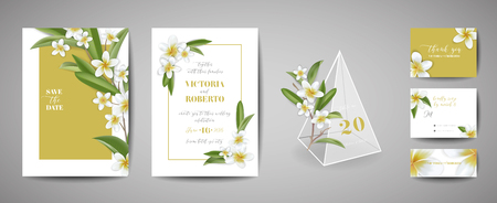 Tropical wedding invitation card Template Design, Botanical Plumeria Flowers and Leaves in modern style, Collection of Save the date, RSVP, greeting in vector